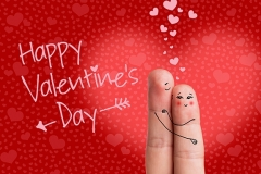 Finger art of a Happy couple. Man is embracing and giving flowers to a woman.
